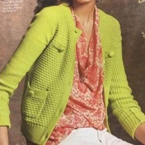 Cabi Loren Cardigan Lime Green Button Down Sweater